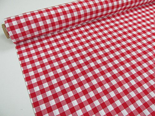 Confección Saymi Metraje 0,50 MTS Tejido Vichy Ref. Cuba Cuadro Medio 15x15 mm. Color Rojo, con Ancho 2,80 MTS.