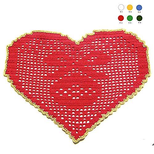 Centrino rosso e oro a forma di cuore per Natale all'uncinetto - Dimensioni: 29.5 cm x 19.5 cm H - Handmade - ITALY