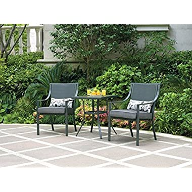 Alexandra Square 3-piece Outdoor Bistro Set, Grey with Leaves