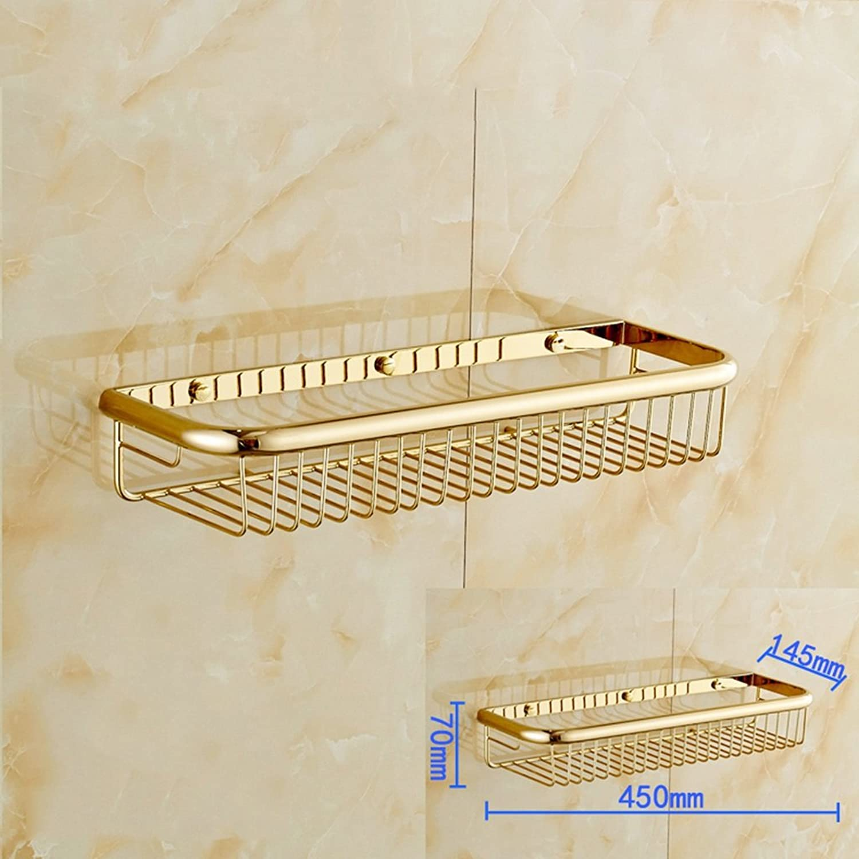 European Style All Copper Storage Basket One Shelf Antique Four-color Optional (color   golden, Size   45CM)