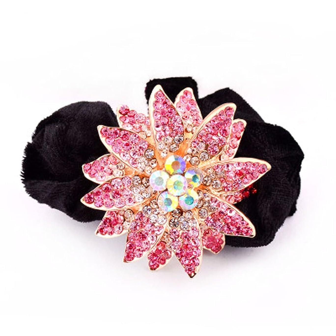 栄光の顔料重々しいハイグレードのベルベットリングクリスタルダイヤモンドヘアアクセサリー - ピンクの花