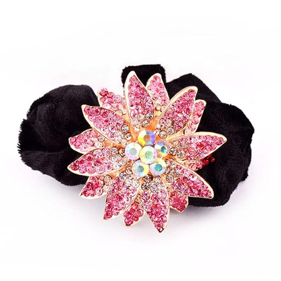 罪人彫刻家面白いハイグレードのベルベットリングクリスタルダイヤモンドヘアアクセサリー - ピンクの花