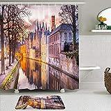 Juegos de Cortinas de baño con alfombras Antideslizantes, Hermosa Benelux Sky House Invierno Puesta de Sol Canal al Aire Libre Azul Brujas Puente Medieval Bélgica Europa,con 12 Ganchos