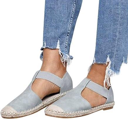 4d997a7d6f5 JJLIKER Women Slip on Flat Sandals Summer Closed Toe Espadrille Loafers  Comfort Maternity Shoes