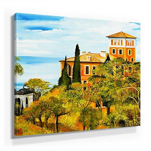 Mia Morro Mediterran Toskana Bild A450, 1 Teil 50x50cm Leinwand auf Holzrahmen aufgespannt, FineArt Print, UV-stabil und wasserfest, Kunstdruck für Büro oder Wohnzimmer, Deko Bild