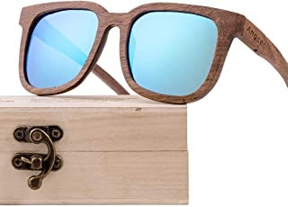 Fashion Fashion Retro Unisex Multi-Color Lens UV400 Protection Black Walnut Wooden Glasses Polarized Coated Sunglasses Retro (Color : Blue)