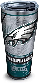 Tervis 1266675 NFL Philadelphia Eagles Edge Stainless Steel Tumbler with Clear and Black Hammer Lid 30oz, Silver - 322092