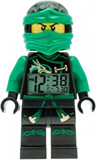 Lego Ninjago Sky Pirates Lloyd Kids Minifigure Light up Alarm Clock | Green/Black | Plastic | 9.5 inches Tall | LCD Display | boy Girl | Official