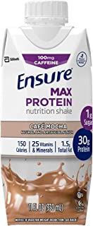 Best Ensure Max Protein Nutritional Shake with 30g of protein, 1g of Sugar, High Protein Shake, Cafe Mocha, 11 fl oz, 12 Count Reviews