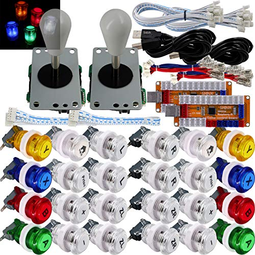 SJ@JX Arcade Game LED Controller Lamp USB Encoder 2 Player Gamepad Microswitch Light Button 8way LED Joystick for Nintendo Switch PC PS3 Retropie Raspberry Pi MAME