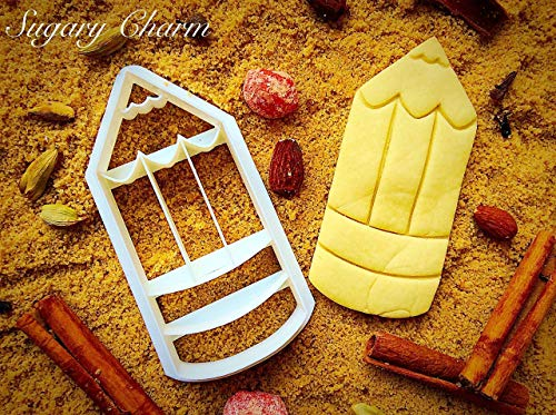 Pencil Cookie Cutter - 3d Shaped Dough Imprint for Graduate - Biscuit Baker Moldable Cutters by Sugary Charm - Stampers for Cookies Pallete