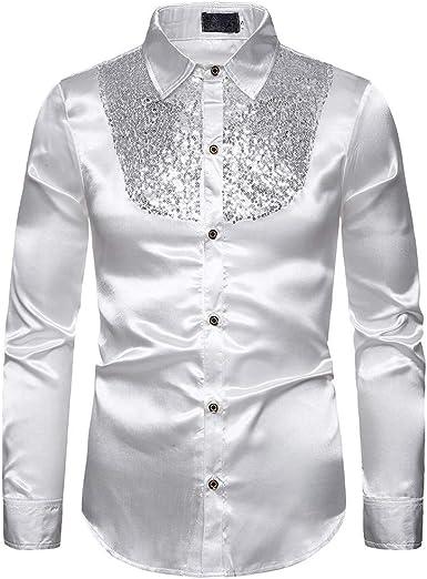 Hombres Camisa de Seda Slim Fit Camisas de Discoteca ...