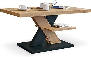 Table Basse de Salon Artisan Noir Decore avec étagère, Table Centrale Blanche Moderne et élégante pour thé et Le café. Des...