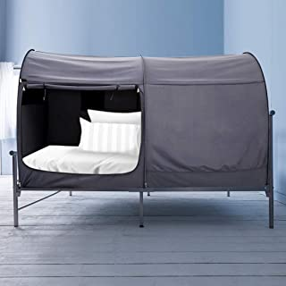 Alvantor Canopy Bed Dream Privacy Space Twin Size Sleeping Tents Indoor Pop Up Portable Frame Curtains Breathable Grey Cottage (Mattress Not Included) Reducing Light