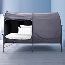Alvantor Canopy Bed Dream Privacy Space Full Sleeping Tents Indoor Pop Up Portable Frame Curtains Breathable Grey Cottage (Mattress Not Included) Reducing Light