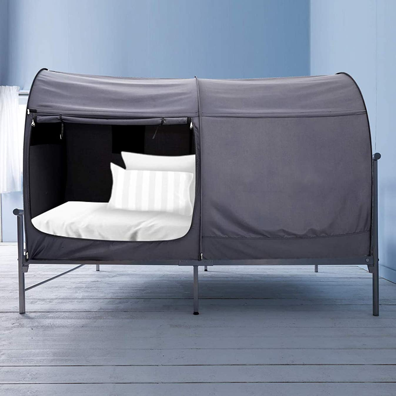 Alvantor Bed Canopy Bed Tents Dream Tents Privacy Space Twin Size Sleeping Tents Indoor Pop Up Portable Frame Curtains Breathable Grey Cottage (Mattress Not Included) Reducing Light
