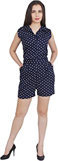 My Swag Women's Polka Dots Printed Collared Sleeveless Jumpsuit