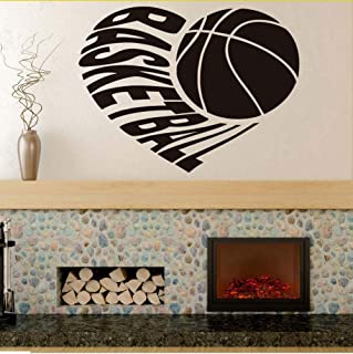 sdfyh I Love Basketball Vinyl Art Design Black Silhouette Wall Decals Home Decor Sports Wall Stickers for Kids Rooms Waterproof Murals