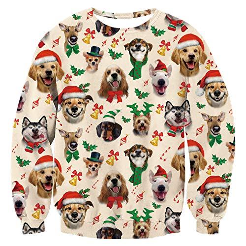 uideazone Weihnachten Pullover Jumper, Herren Damen Unisex Lustige Sweatshirts hässliche Pullover 3D Printed Xmas Grafik Santa Long Sleeve Shirt