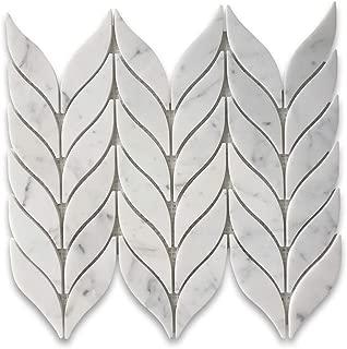 Carrara Marble White Carrera Venato Grand Leaf Shape Mosaic Tile Polished