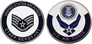 """Air Force ENLISTED RANKS - Staff Sergeant """"E5'' Collectible Challenge Coin /Logo Poker / Lucky Chip/ Gift"""
