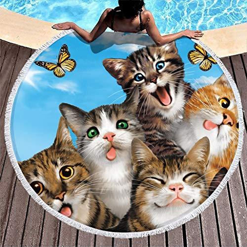 Gamoii Runder Strandtuch Badetuch Haustier Katze Tier Picknickdecken Strandmatte Frottee Badetuch Übergröße Duschtuch mit Fransen für Erwachsene Kinder Spa Yoga Sport White 150 cm