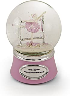 MusicBoxAttic Inspiring Pink and Silver Animated Ballerina Snow Dome - Lara's Theme (Dr.Zhivago) - Swiss