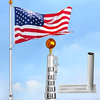Yeshom 30ft Telescopic 16 Gauge Aluminum Flagpole Tire Mount Stand Kit 3'x5' US Flag Ball Pole Top Fly 2 Flags