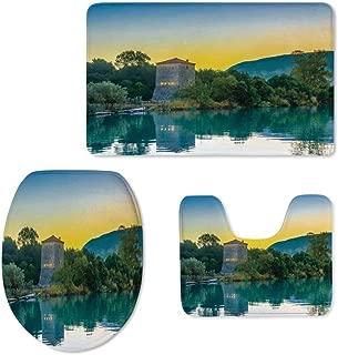 Bathroom Rug Mats Set 3 Piece Toilet Carpet Rugs Includes Contour Mat Asian,Venetian Tower Archaeological Site National Park at Sunrise Lake Sanctuary Landscape for Toilet
