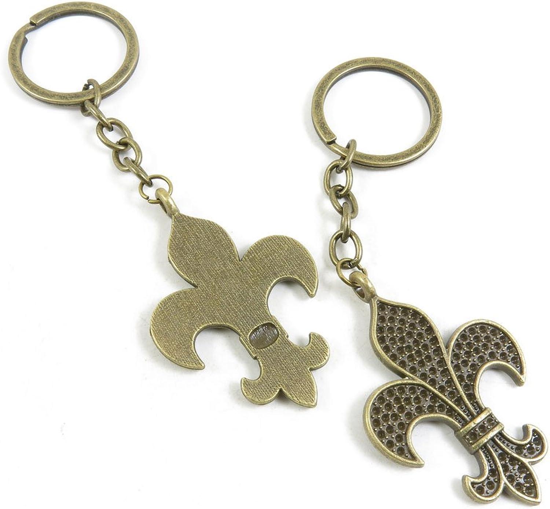 100 Pieces Fashion Jewelry Keyring Keychain Door Car Key Tag Ring Chain Supplier Supply Wholesale Bulk Lots K2ED8 Fleur De Lis Iris Lily