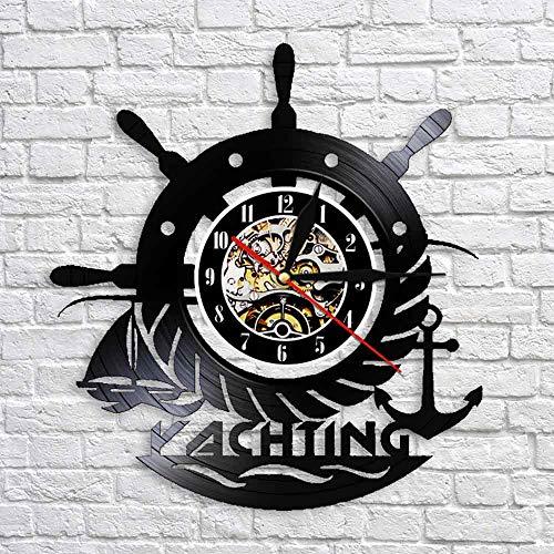 BFMBCHDJ Arte Hecho a Mano Reloj 3D Reloj de Pared Yate Deporte Disco de Vinilo Vela Yate Reloj de Tiempo para la decoración de la Sala de Estar Sin LED 12 Pulgadas