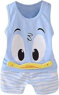 2Pcs Toddler Baby Girls Boys Funny Cartoon Animals Sleeveless Vest Tops T Shirt Shorts Outfits Set