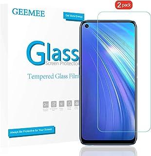 GEEMEE Protector de Pantalla para realme 6, Cristal Templado Película Vidrio Templado 9H Alta Definicion Glass Screen Protector Film Clear para realme 6-2 Pack …
