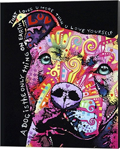 Thoughtful Pit Bull 1 by Dean Russo Canvas Art Wall Picture, Museum Wrapped with Black Sides, 16 x 20 inches