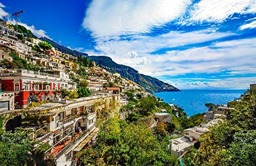 Gifts Delight Laminated 36x24 inches Poster: Amalfi Coast Italy Positano Sorrento Amalfi Italian Mediterranean Coastline Blue Sea Mountainside Town City Hillside Shore Travel Sea-Coast Distant View