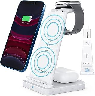【2021最新強化版】TEPNICAL ワイヤレス充電器 Qi認証 3 in 1急速充電15W/10W/7.5W iPhone 12 / 12 Pro / 12 Pro Max / 11 / 11 Pro / Pro Max / Galaxy ...