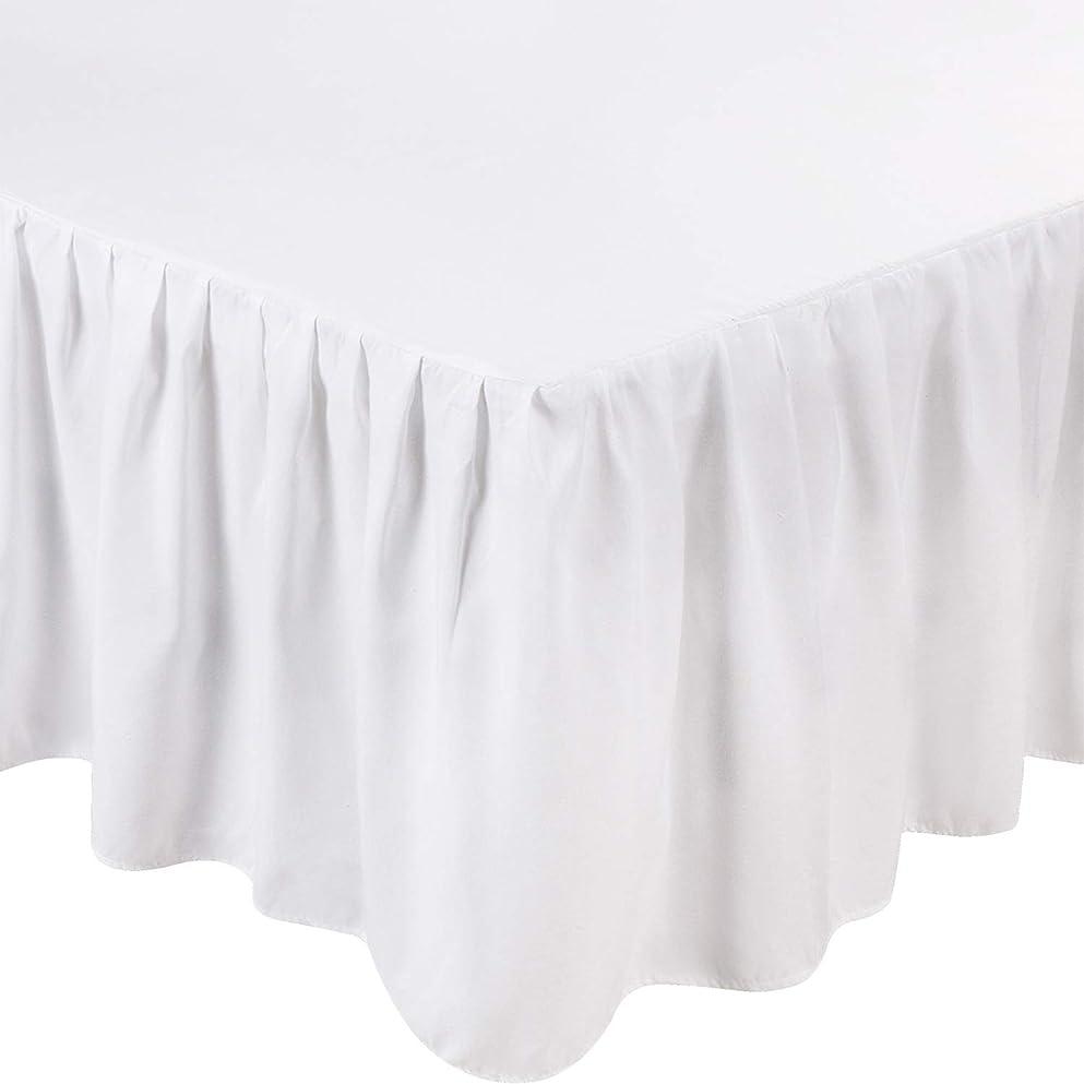 侵入する九月スナッチ(King, White) - Bed Ruffle Skirt (King, White) Brushed Microfiber Bed Wrap with Platform - Easy Fit Gathered Style 3 Sided Coverage by Utopia Bedding