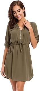 Womens Casual Chiffon Shirt Dress Long Sleeve Drawstring Roll-up Blouses Front Zipper Pocket Dress