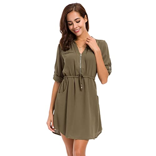 6de9f67d74c7 MOQUEEN Womens Casual Chiffon Shirt Dress Long Sleeve Drawstring Roll-up  Blouses Front Zipper Pocket