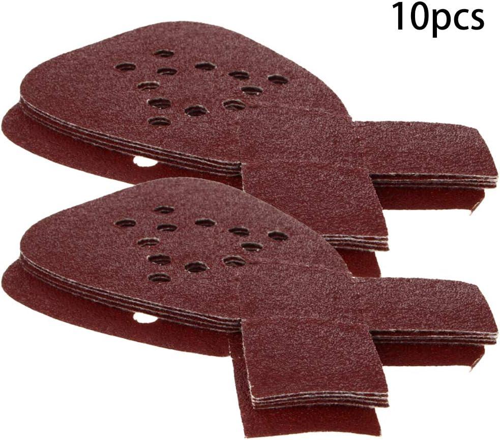 Utoolmart 165 x 145 x 95 mm Triangolo a 12 fori Grana 40 Coda di rondine Floccaggio Carta vetrata Ossido di alluminio Materiale abrasivo 10 pezzi