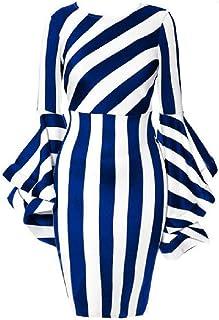 neveraway Womens Stripes Trim-Fit Sexy Ruffle Sleeve Plus-Size Dress Top