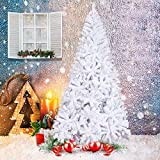 KARMAS PRODUCT 8 Ft High Christmas Tree 1500 Tips Decorate Pine Tree with Metal Legs White, with Decorations