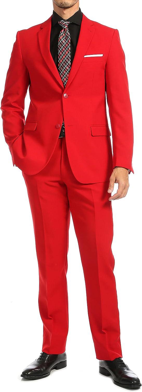 44S Paul Lorenzo Mens Red Slim Fit 2 Piece Suit for Men