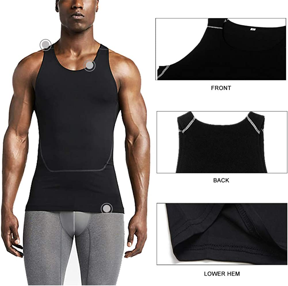 LANBAOSI Mens Sleeveless Compression Tank Top Breathable Sport Dry Fit Vest Shirts