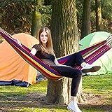 Abhsant Cotton Fabric Canvas Travel Hammocks Ultralight Camping Hammock Portable Beach Swing Bed with Hardwood Spreader Bar Tree Hanging (Wooden Hammock)