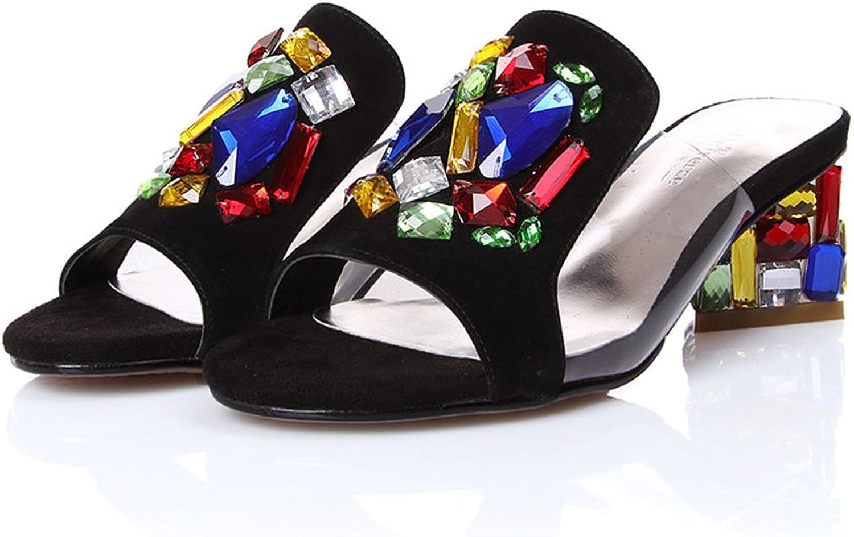 ZHIRONG Sommerfrauen High Heel Sandaletten Mode Strass Offene spitze Hausschuhe Dicke Mit Rmischen Schuhe Fisch Mund Schuhe 5 CM (Farbe   Schwarz, gre   EU35 UK3 CN34)