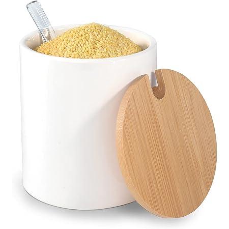 77L Azucarero, Azucarero de Cerámica con Cuchara de Azúcar y Tapa de Bambú para Hogar y Cocina, Azucarera, Diseño Elegante, Blanco, 320 ML (10.8 FL OZ o 1.33 Cup)