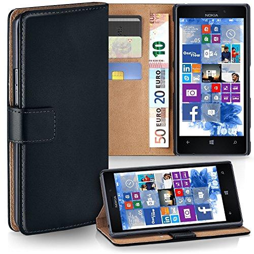 MoEx Cover a Libretto Compatibile con Nokia Lumia 925   Fessura Carta + Soldi, Supporto, Nero