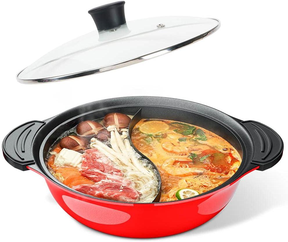 Shabu Hot Pot 卸売り with Lid Induction Cookt ブランド激安セール会場 Casserole Non-Stick