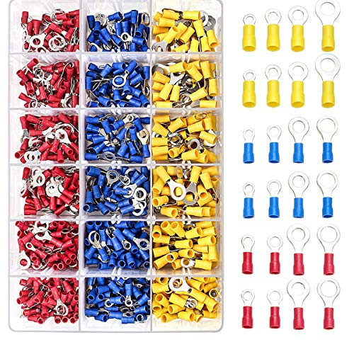 Qibaok 720 PCS Ring Crimp Terminals Connectors Electrical Wire Connectors Insulated Assortment Kit 22-16/16-14/12-10 Gauge